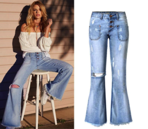 Distressed Flare Denim