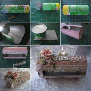 DIY Pretty Vintage Box pringles can crafts